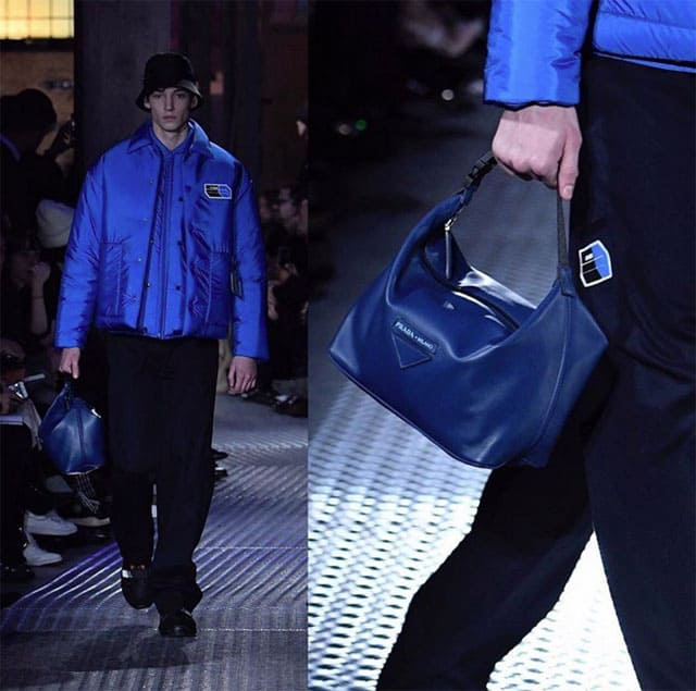 תיקי יד. תצוגת אופנה של פראדה בשבוע האופנה לגברים מילאנו 2018. צילום: אינסטגרם