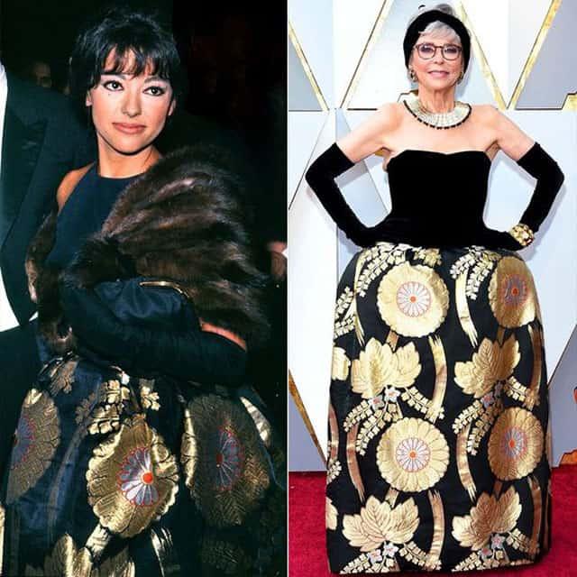 העלייה השנייה ריטה מורנו מימין: טקס האוסקר 2018. משמאל: ב׳סיפור הפרברים׳, 1962. צילום: פינטרסט. צילום: פינטרסט