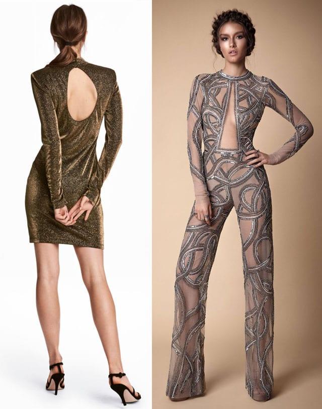 אוברול זהב של ברטה.צילום: דודי חסון. שמלת זהב עם מחשוף של H&M. צילום: הנס מוריץ, סילבסטר 217, מגזין אופנה, Efifo
