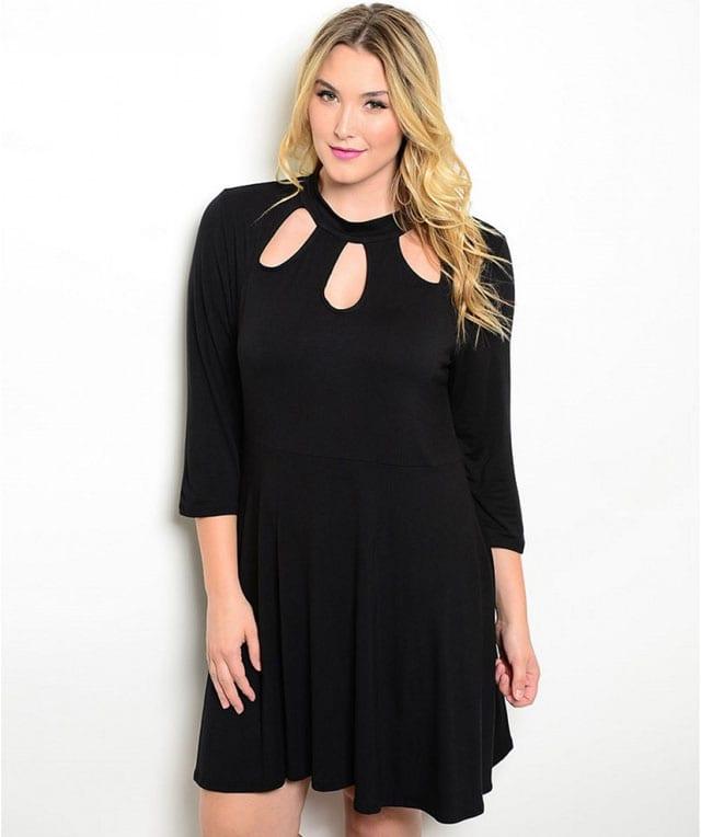 שמלה שחורה למידות גדולות-5