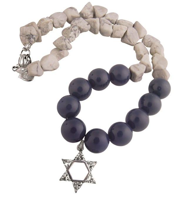 שרשרת אבנים עם תליון מגן דוד מכסף - טרנדים - סטייל - אופנת נשים - Fashion - אופנה ישראלית