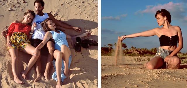 בצילום: בתמונה הימנית: שורט ג׳ינס: H&M, טופ: נלי'ס, תכשיטים:Jewelry C&R. בתמונה השמאלית: הוא- גופיה: בילבונג, מכנסיים: זארה, היא-אופנת נלי'ס. סטודיו גברא בשיתוף Efifo. מנחה: איתן טל. צילום: איילה ברק העליון. סטיילינג: שרון סטאר, עיצוב שיער: ליאור זאמן,איפור: עדיה שיפמן, דוגמנים: לירז נומדר ל-H.H Models, כריסטינה סים, שחר כליפה ל-רונן אור צרפתי