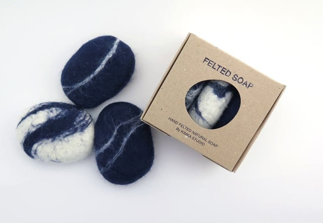 FELTED SOAPS PACK OF 3 BLUE AND WHITE