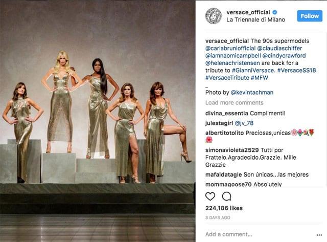 בתמונה: הסופר מודל׳ס. נעמי קמפבל, קלאודיה שיפר, הלנה כריסטיאנסן, קרלה ברוני וסינדי קרופורד. Versace. אביב 2018. צילום: אינסטגרם