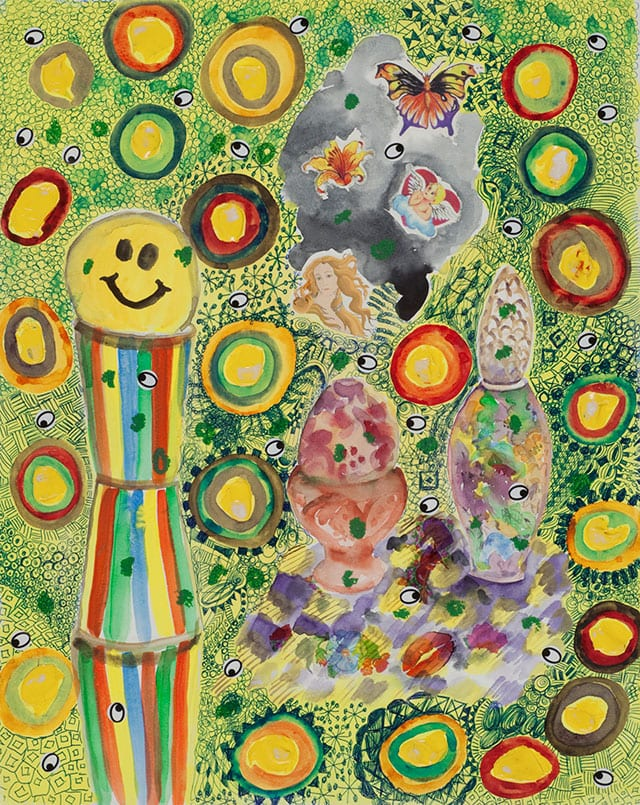 דינה הופמן, חייכנים עמוק בבטן, 2010, צבעי מים, אקריליק, גירי שמן,עטים ומדבקות על נייר, 40X50 סמ-1