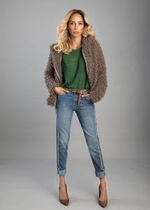 מירי בוהדנה, מעיל של אריסטו שמט, Aristo Shmat coat 539.90, shirt 299.90, jeans 479.90 Ils. Photo Shai Yehezkel