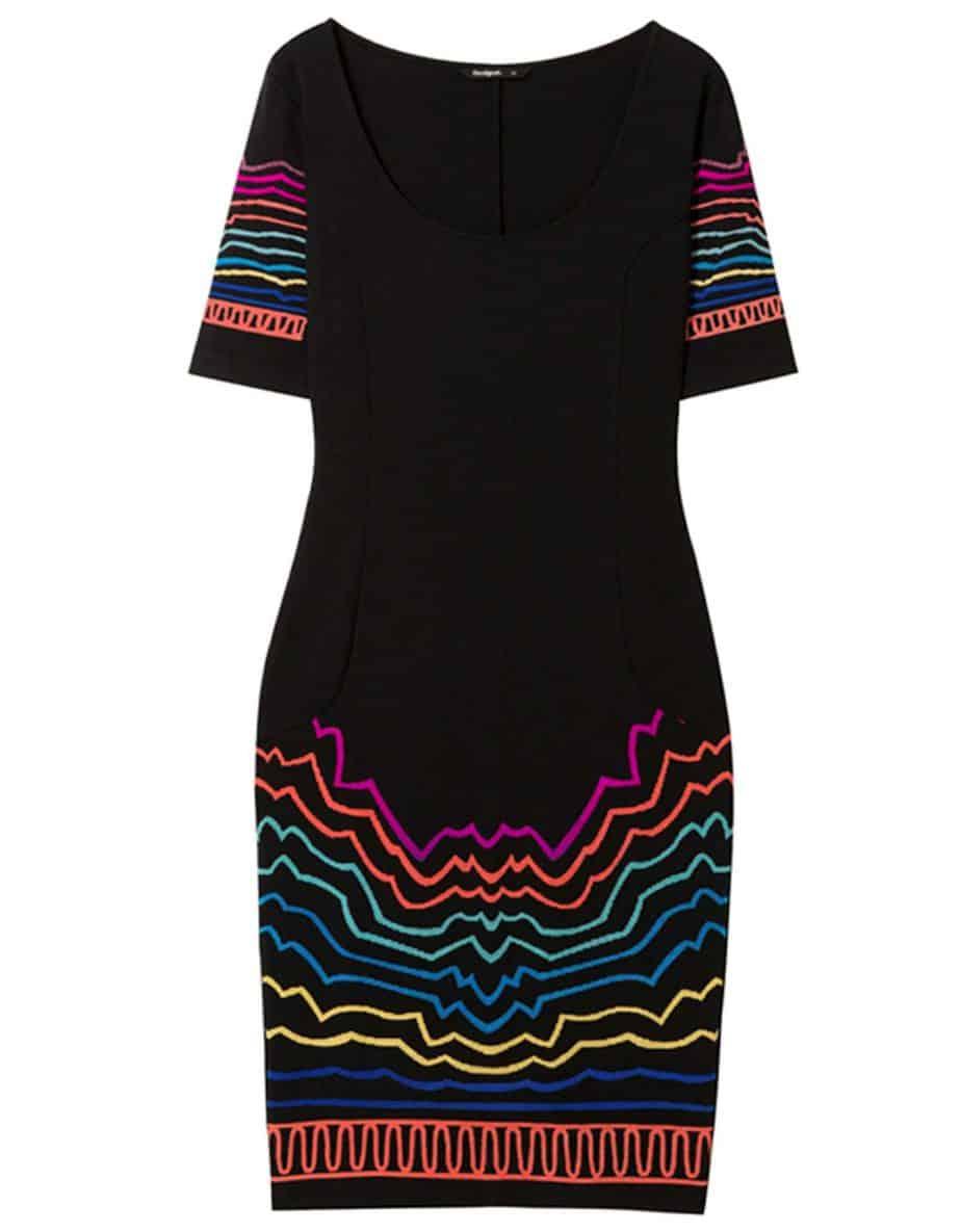 DESIGUAL, שמלה שחורה שילוב דוגמא צילום יחצ חול_549שח לפני 274שח אחרי