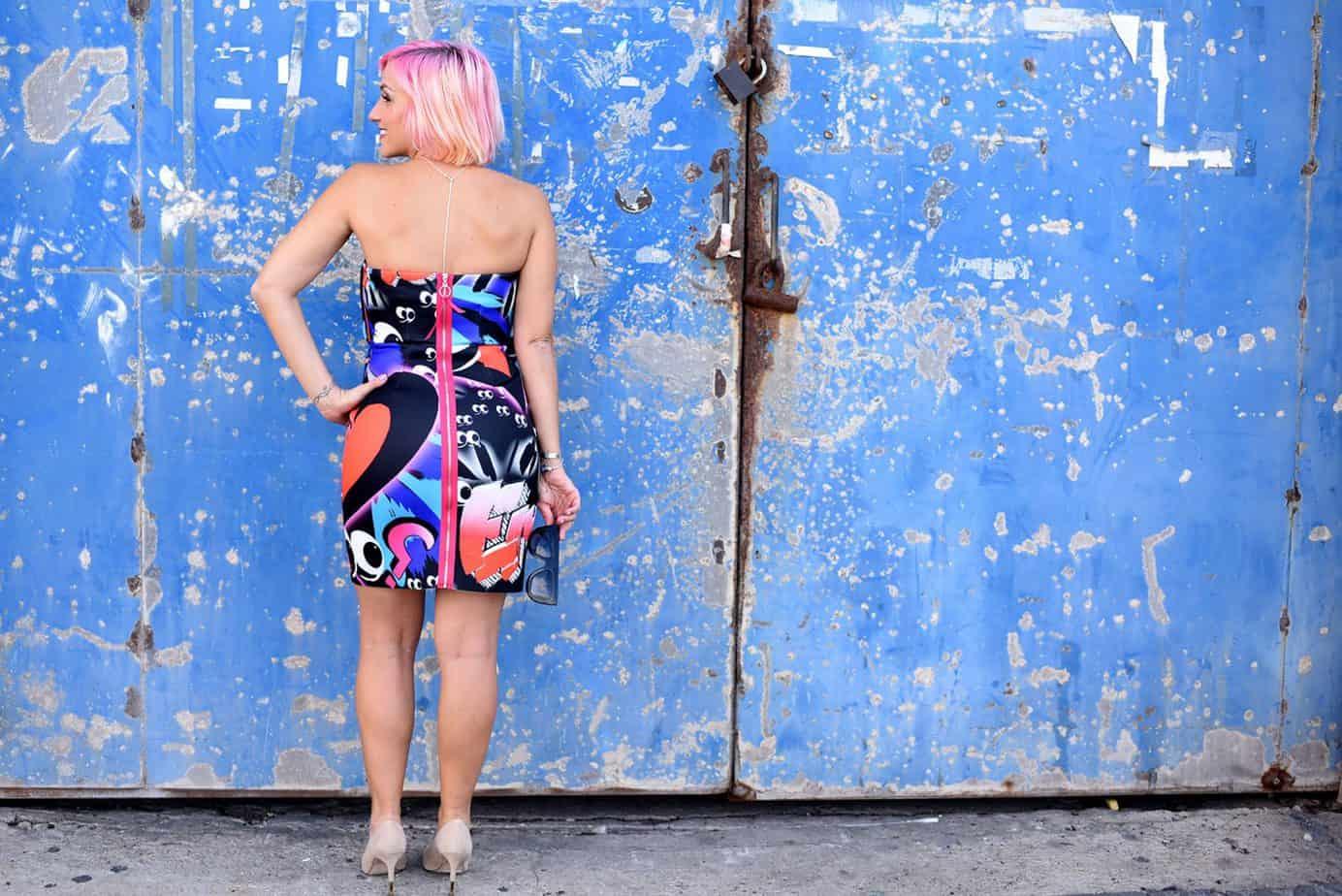 נעלי עקב שחור Castro שמלה צבעונית asos x the Emoji movie, מורן טרסוב, Moran Tarasov, צילום: לימור יערי - 7