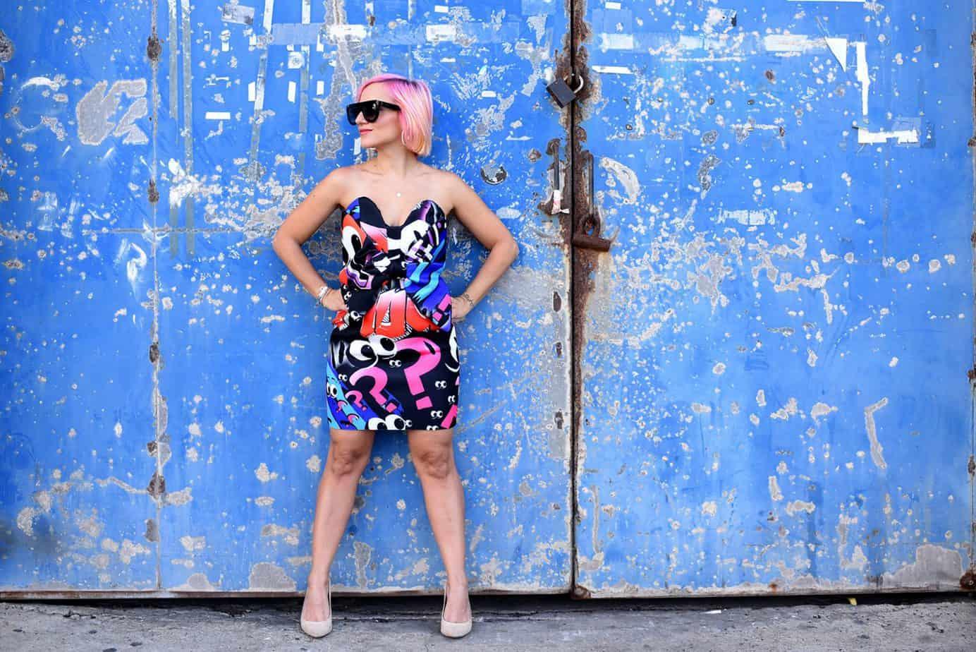 נעלי עקב שחור Castro שמלה צבעונית asos x the Emoji movie, מורן טרסוב, Moran Tarasov, צילום: לימור יערי - 16