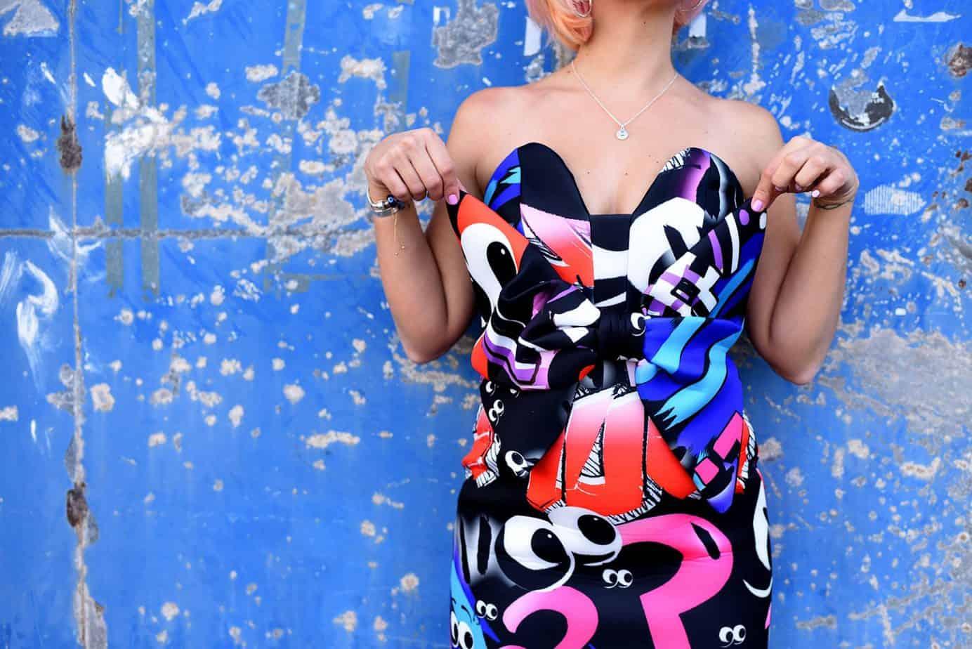נעלי עקב שחור Castro שמלה צבעונית asos x the Emoji movie, מורן טרסוב, Moran Tarasov, צילום: לימור יערי - 10