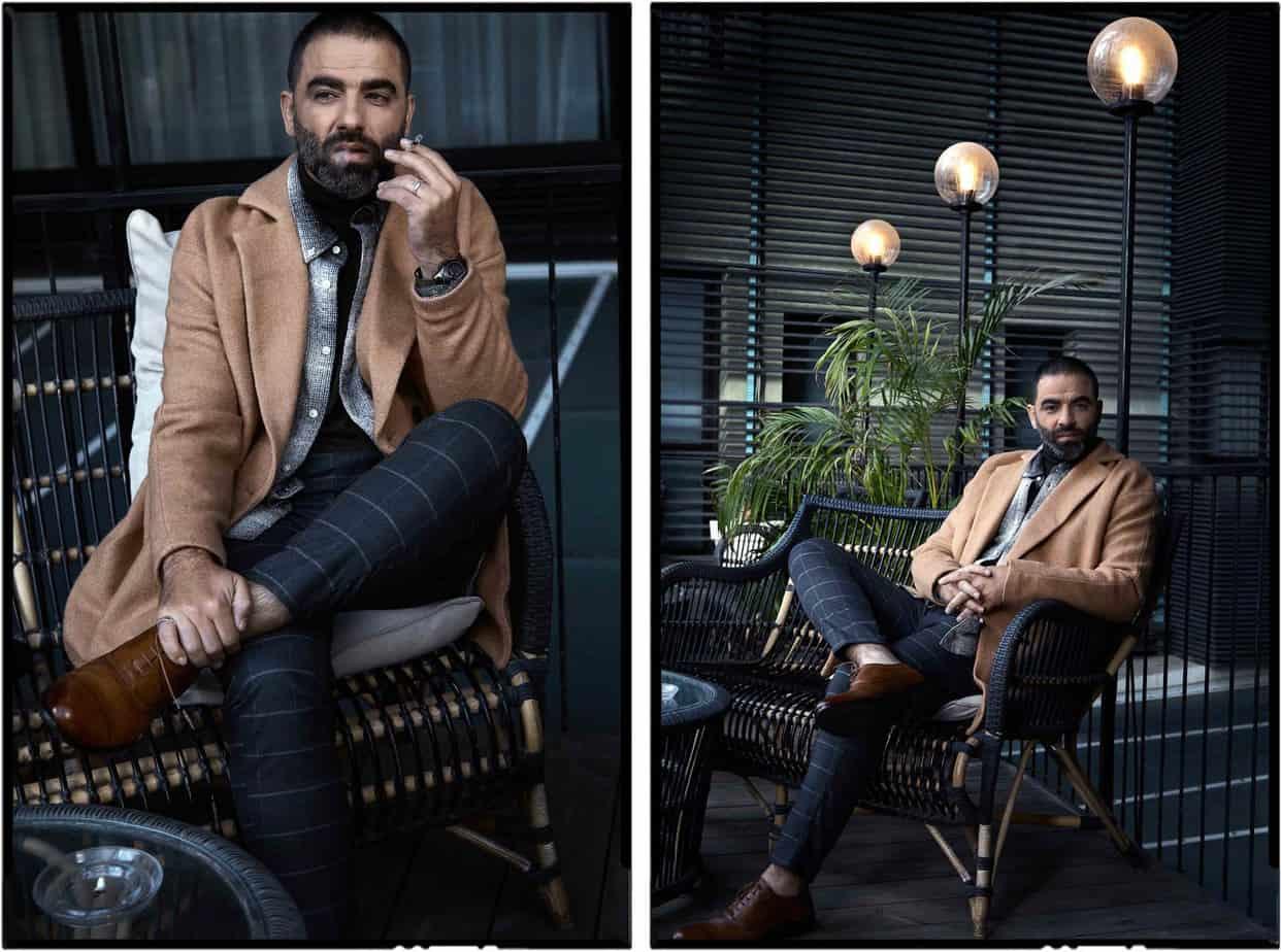 הישאם סולימאן, هشام فضل سليمان, הישאם סלימאן, צילום אלכס פרגמנט - מעיל וחולצה: זארה, חולצה מכופרת: המביר לצרכן, מכנסיים: קסטרו