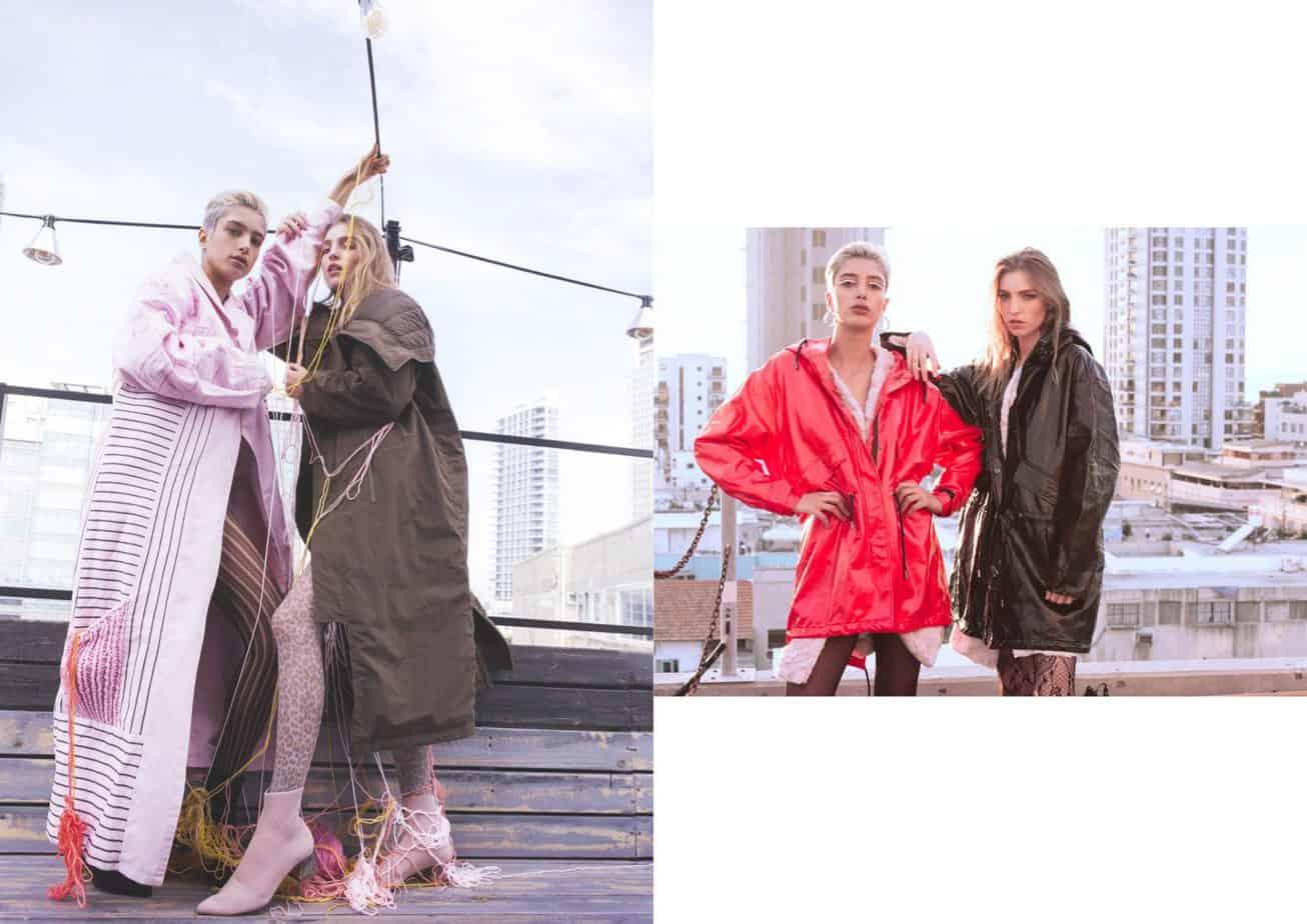 מימין - ימין מאיה: מעיל שחור - GANLA, מעיל לבן: Tiara, גרביון: קסטרו, גרביים- UNIQLO. שמאל שירה: מעיל אדום: ZARA, מעיל לבן: Tiara, גרביון: קסטרו, גרביים- UNIQLO, נעליים: אוסף פרטי, משמאל - שירה (שמאל): מעיל: רות פילוסוף, גרביון: רנואר, נעליים: Stradivarius. מאיה (ימין): מעיל: Inn7, גרביון: Divine Garage, נעליים: Stradivarius, הפקת אופנה: צילום: קרן גנור, סטיילינג: אורי לשם, דוגמניות: שירה תגר ומאיה פלד ל-A list models, לוקיישן: Mondo 2000,איפור ועיצוב שיער: אלה רן -1
