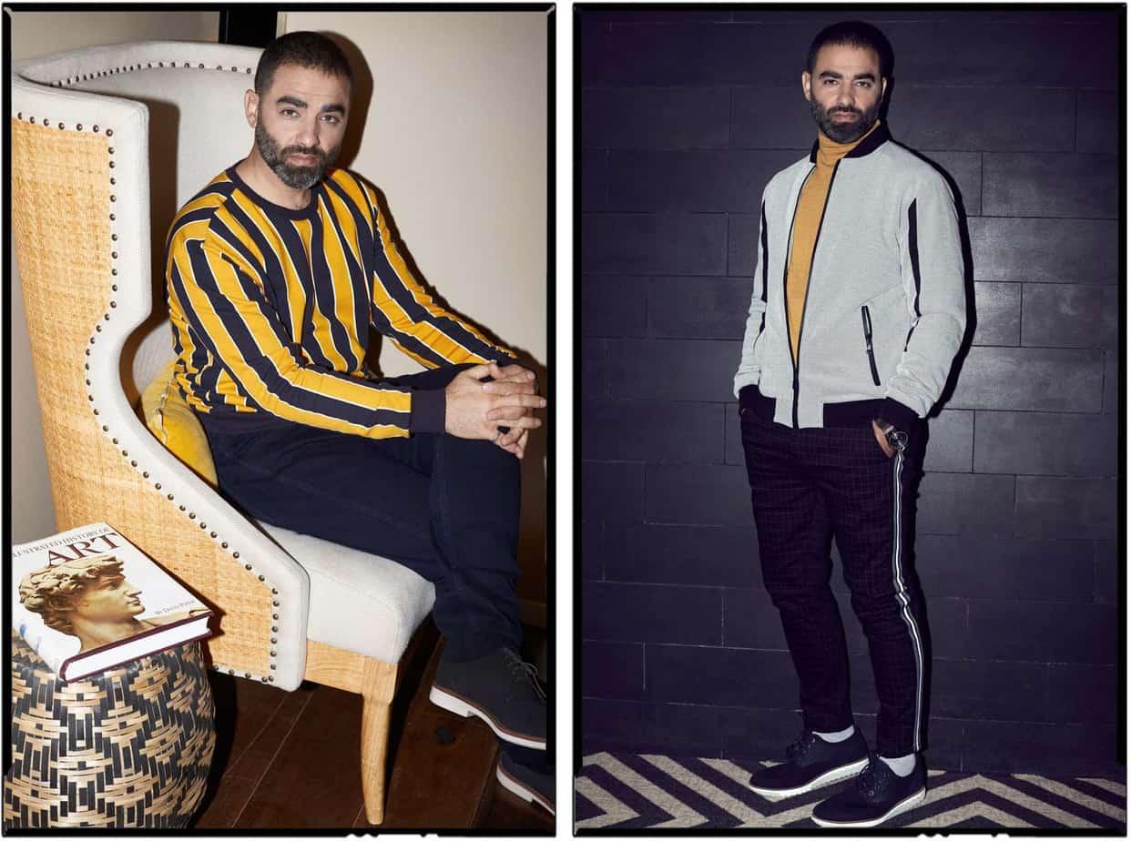 הישאם סולימאן, هشام فضل سليمان, הישאם סלימאן, צילום אלכס פרגמנט - מימין - מכנסיים וג׳קט: קסטרו, חולצה: זארה, נעליים: גלי. משמאל - חולצה קסטרו, מכנסיים: המשביר לצרכן