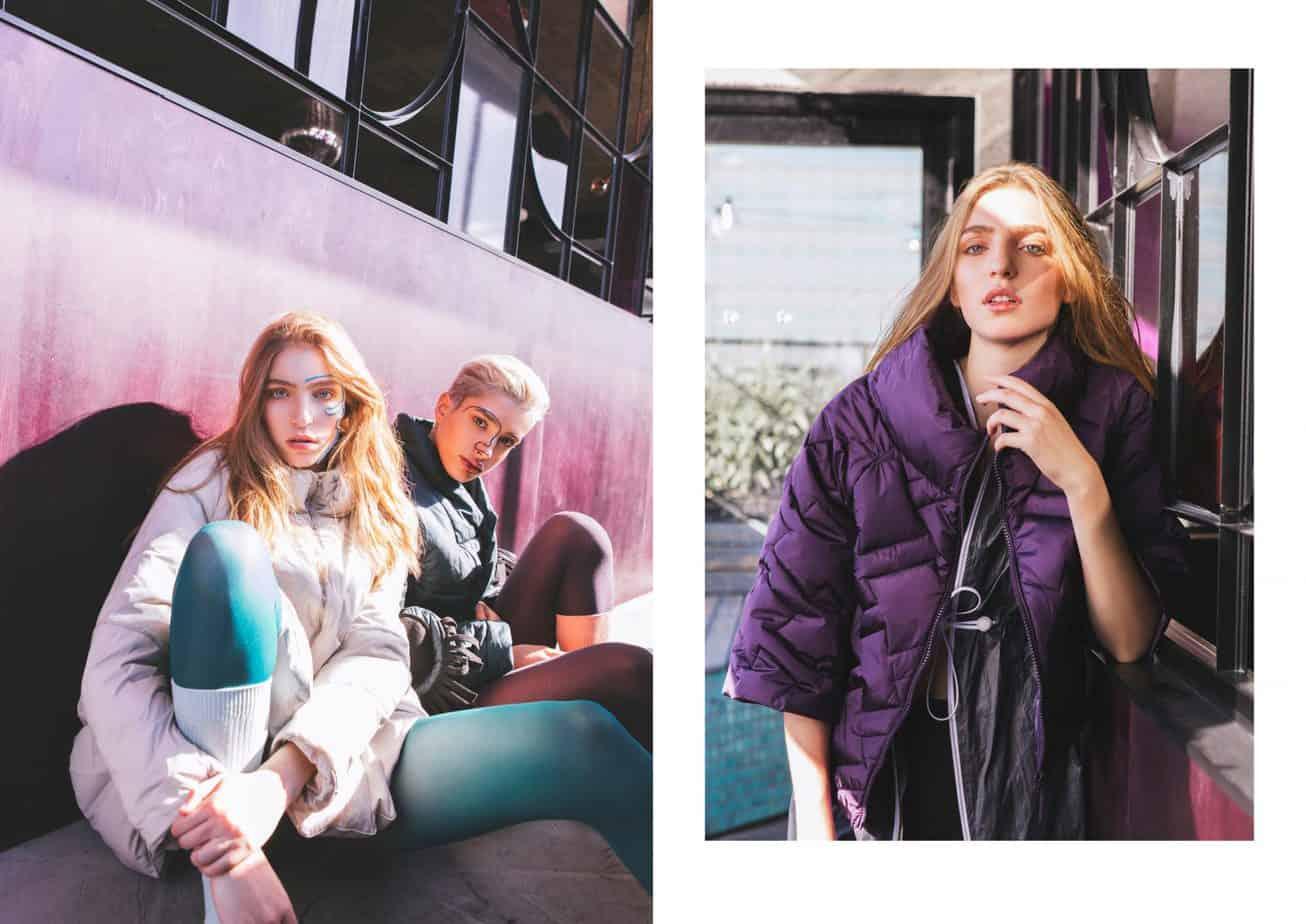 מימין - מעיל סגול – GANLA FASHION, מעיל גשם אפור – Tiara, טייץ – Dymantria. משמאל - ימין שירה: מעיל: רות פילוסוף, גרביון: UNIQLO. שמאל מאיה: מעיל לבן: Inn7, גרביון וגרביים: UNIQLO, הפקת אופנה: צילום: קרן גנור, סטיילינג: אורי לשם, דוגמניות: שירה תגר ומאיה פלד ל-A list models, לוקיישן: Mondo 2000,איפור ועיצוב שיער: אלה רן -5