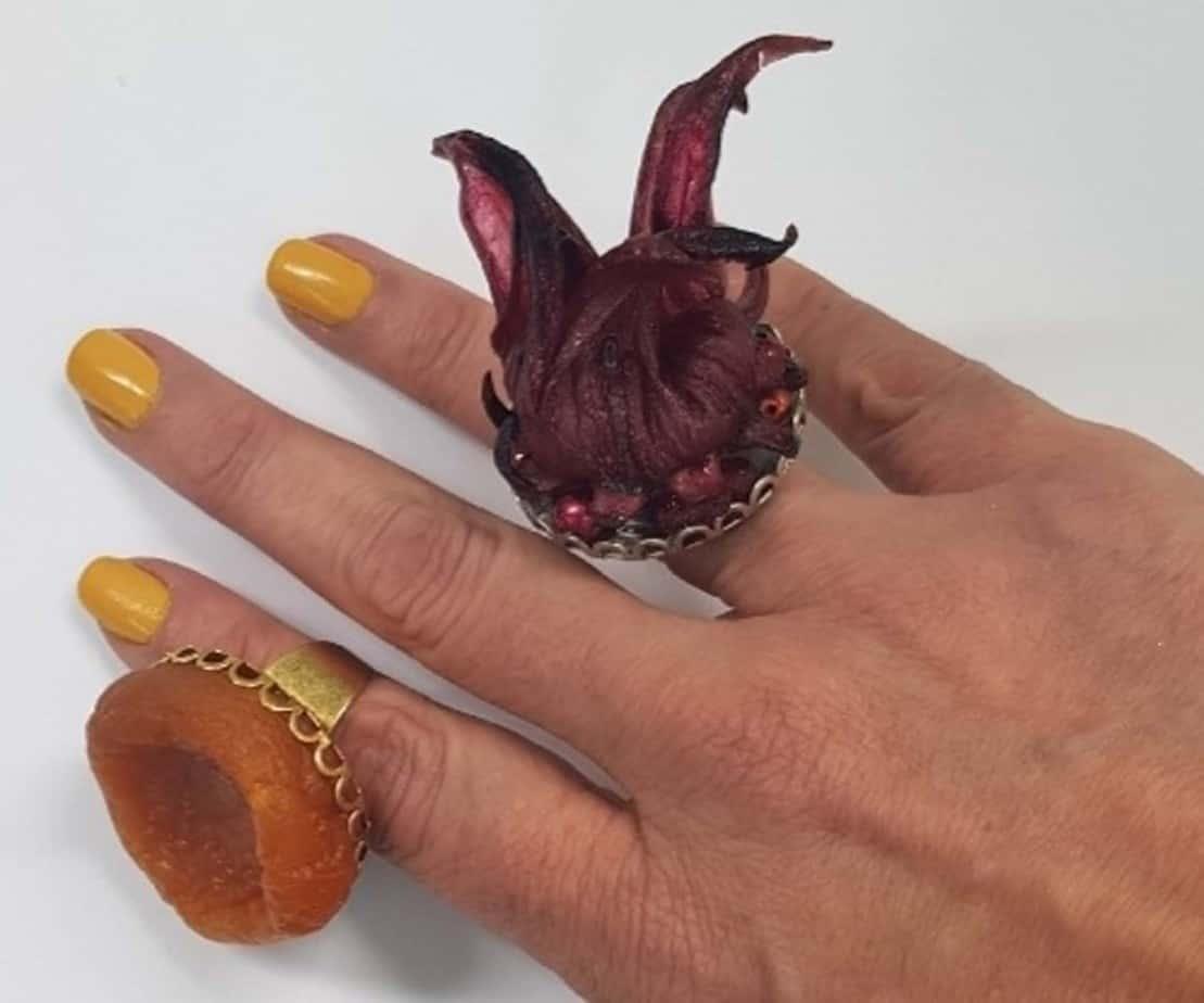 קולקצית תכשיטי פירות לטו בשבט של המעצבת ענת פרץ-טבעות היביסקוס ומשמש-צילום יחצ