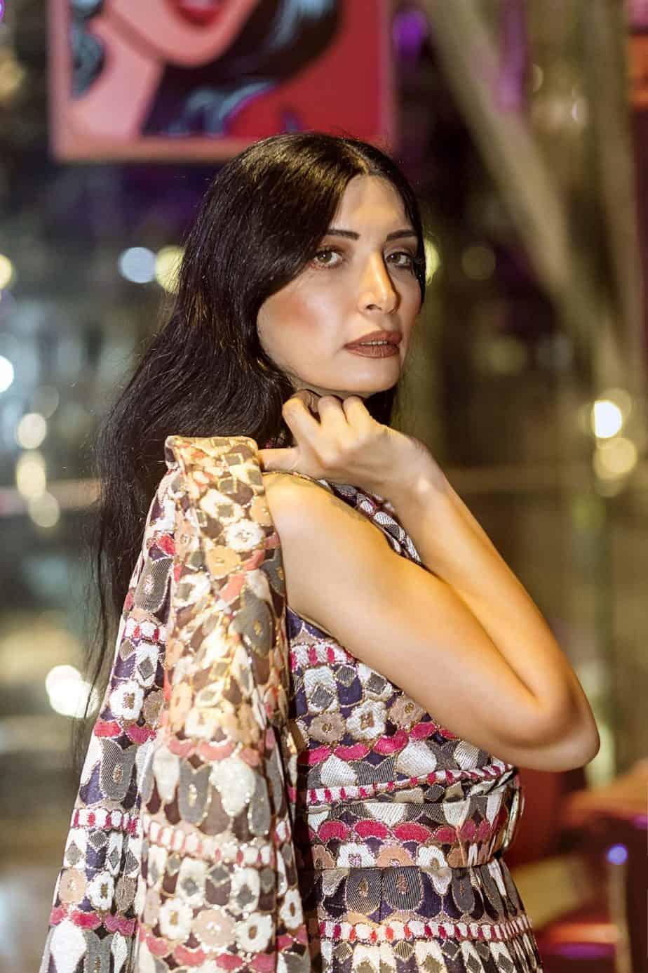 שמלת ערב וג'קט תואם, מאיה אושרי כהן, אופנה שנות השבעים,צילום Gennadiy Tsodik