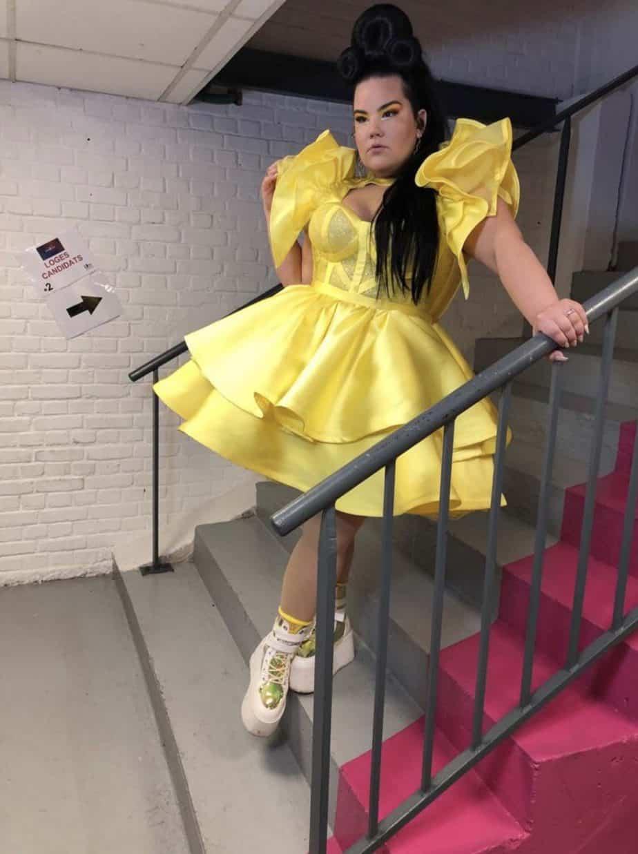 נטע ברזילי בשמלה של סיו מגן צילום יחצ
