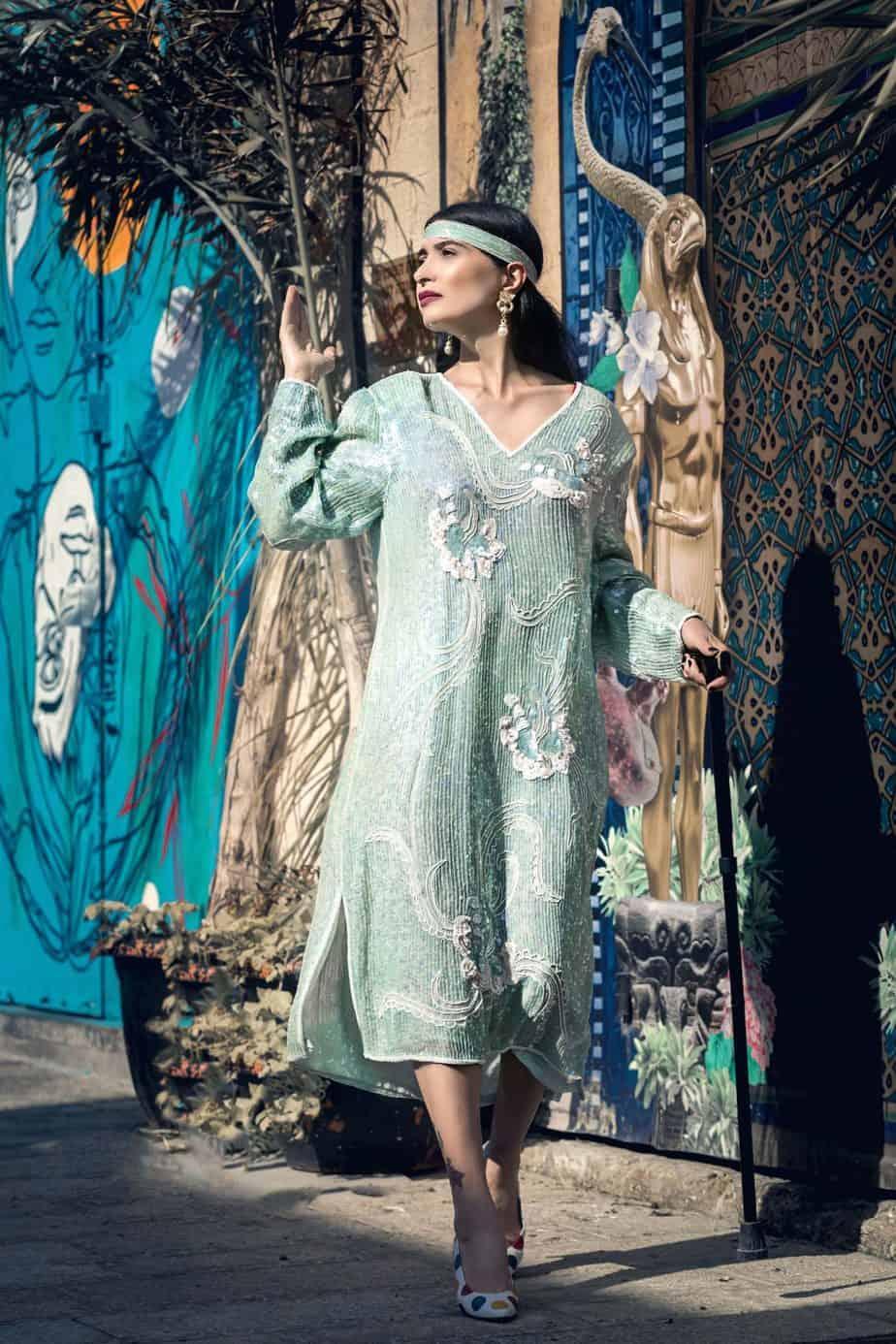 שמלת פייאטים שנות ה- 80 עבודת יד. נעליים איטליה piacciotti. מאיה אושרי כהן, צילום: Gennadiy Tsodik, אופנה במנהרת הזמן, לוני ויטג׳ -