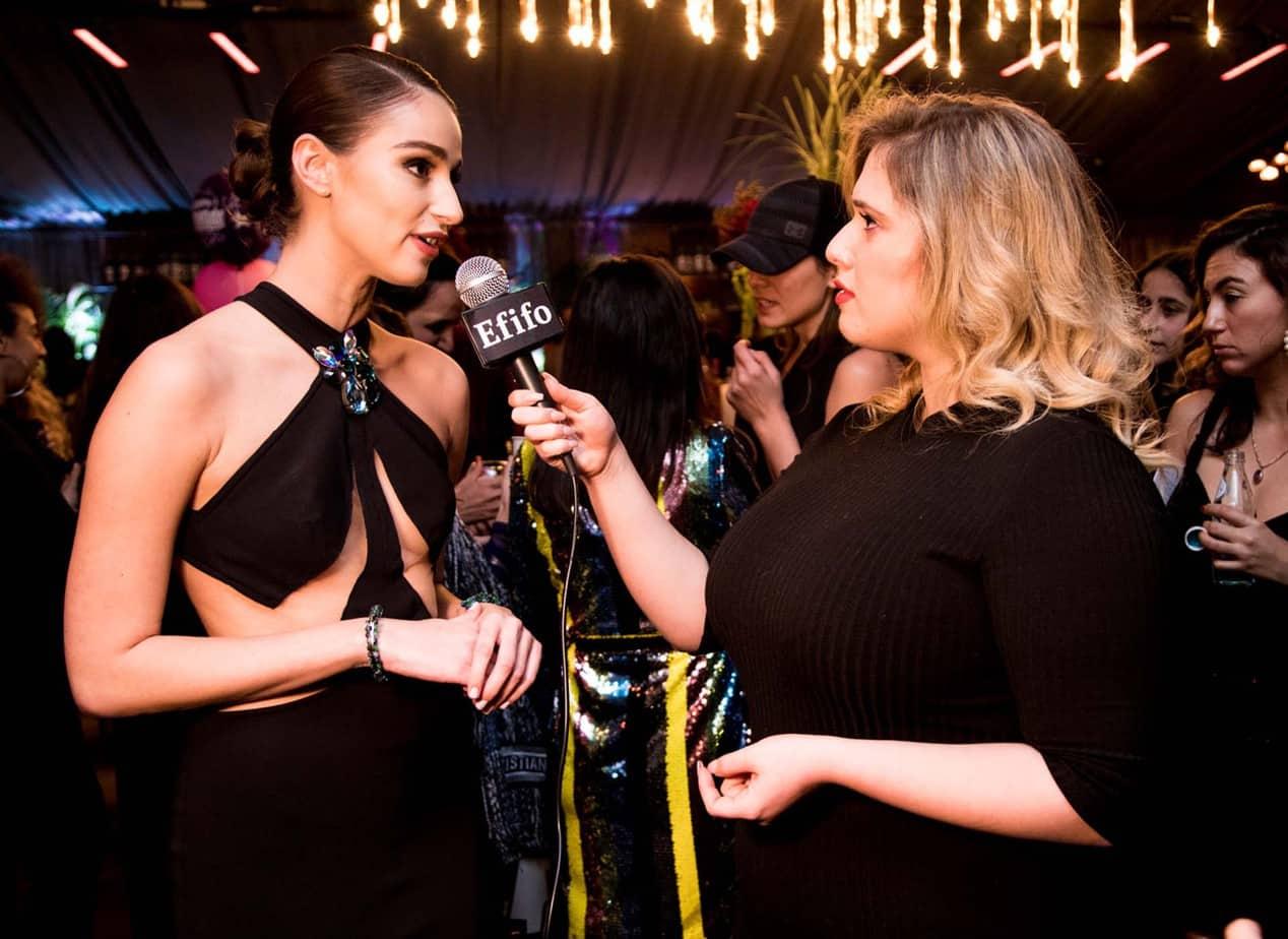 לי זוהר ל-Efifo עם רומי נסט. גאלה שבוע האופנה תל אביב 2019. צילום: אלכס פרגמנט