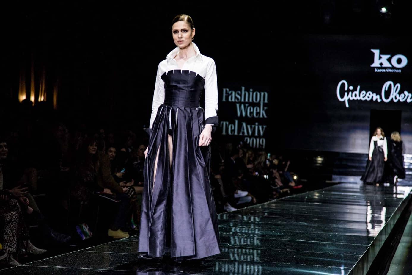 רונית יודקביץ׳. גדעון אוברזון. שבוע האופנה תל אביב 2019. צילום: אלכס פרגמנט