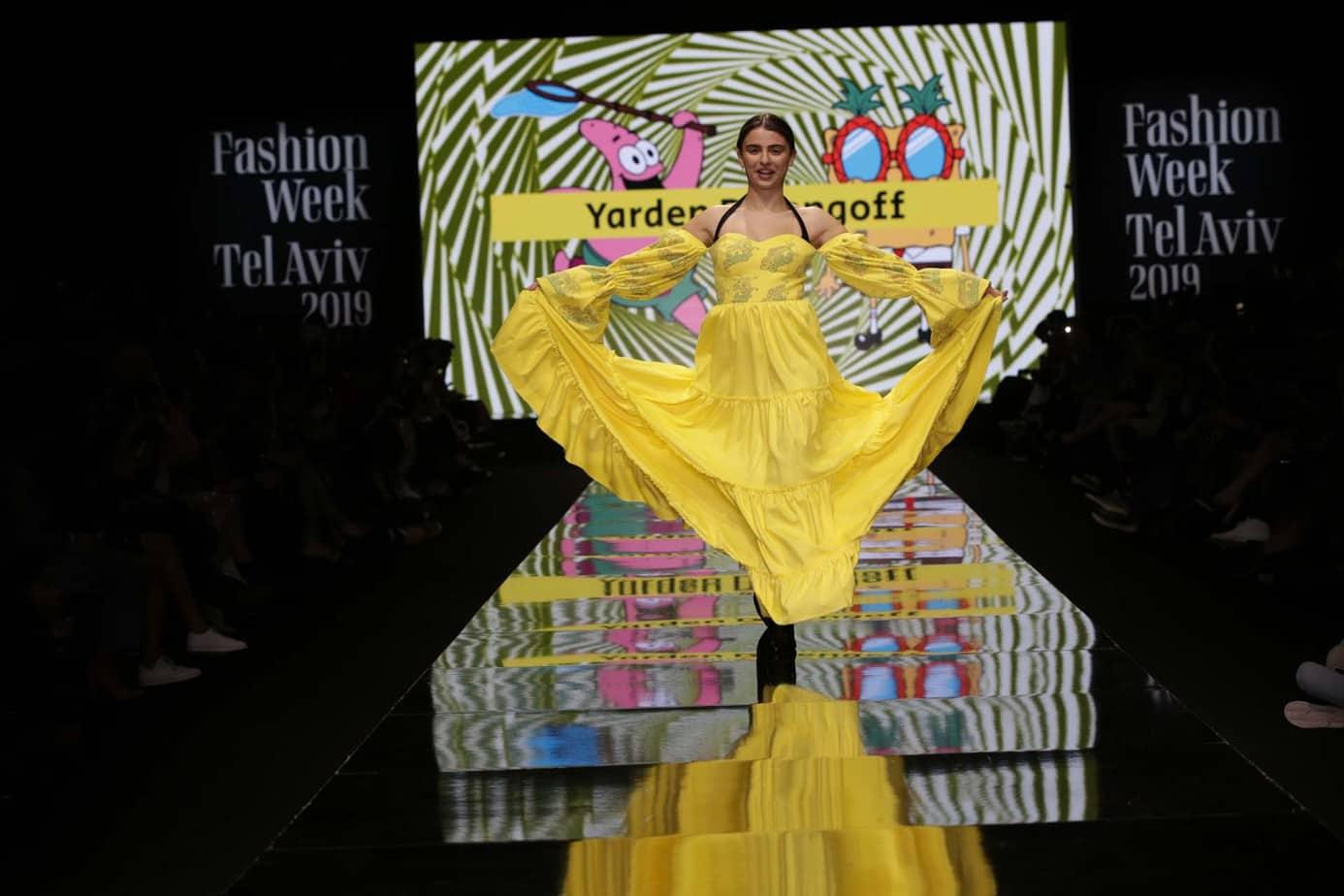 תצוגת בובספוג. שבוע האופנה תל אביב 2019. צילום אבי ולדמן, רפי דלויה. באדיבות ערוץ האופנה הישראלי -7