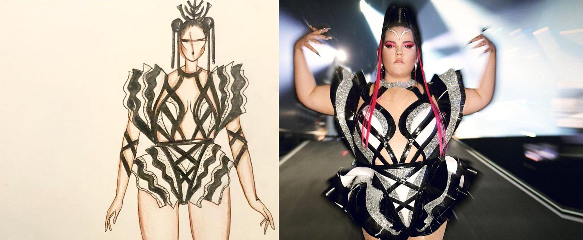 נטע ברזילי בשמלה של אלון ליבנה באירוויזיון 2019, צילום ערן לוי