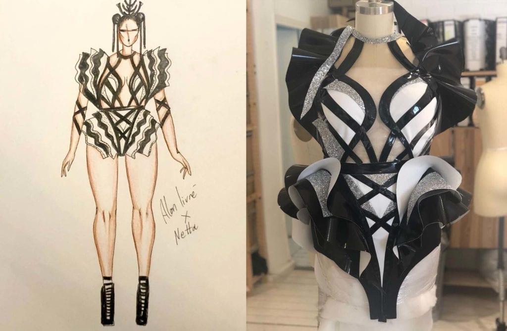 סקיצת השמלה של אלון ליבנה והדגם שעיצב לנטע ברזילי