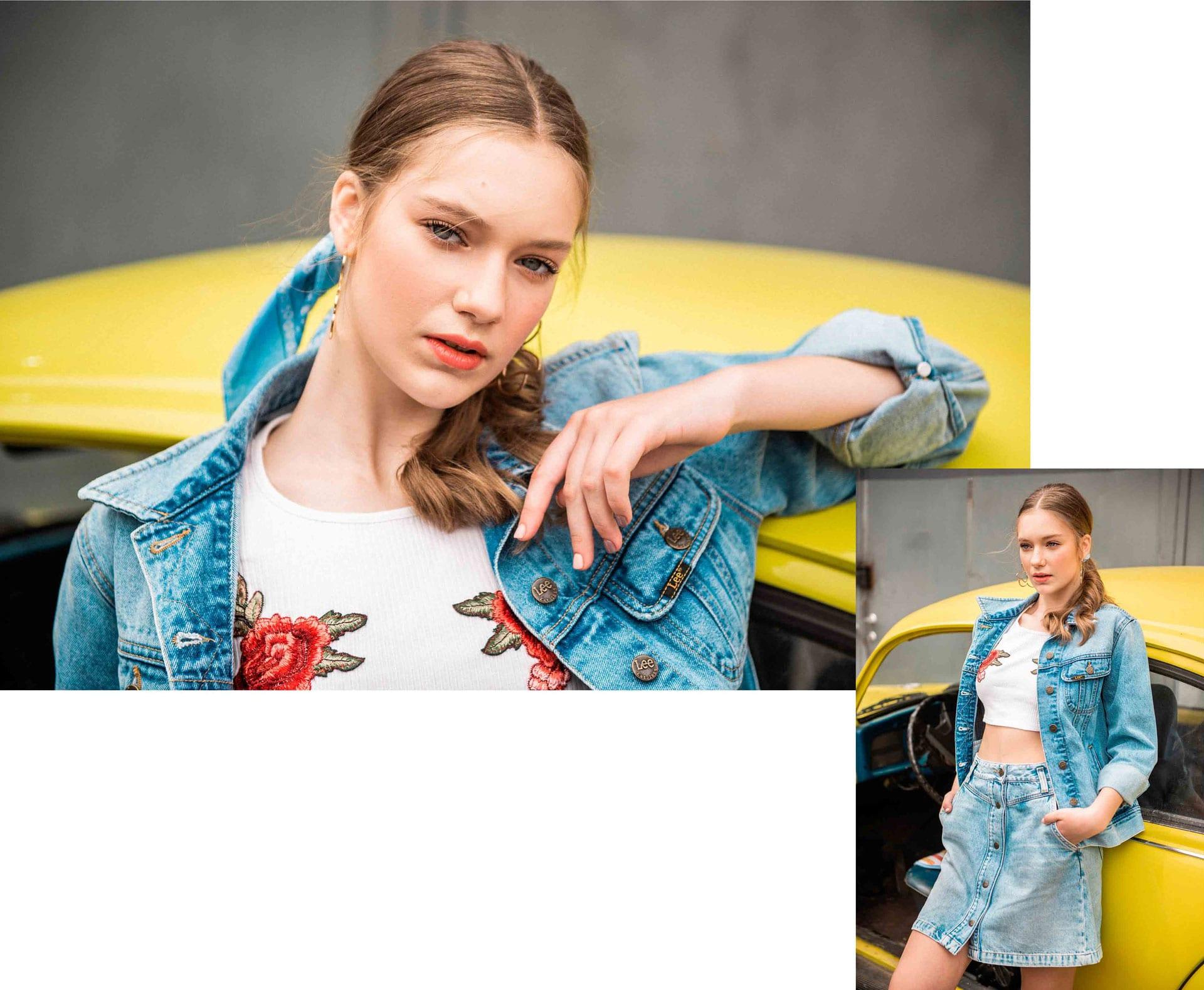ג׳קט: lee, חולצה: h&m, חצאית: lee, בנדנה: top shop, עגילים: h&m, משקפיים: Tough Character, הפקת אופנה: צילום: דניס גרצקיס, איפור: רעות גיא, סטיילינג: אורי לשם, וידיאו: שני רייך, דוגמנית: מליסה אובסיאניקוב ל׳רוברטו׳, צולם ב-Dr bug, אופנה -2