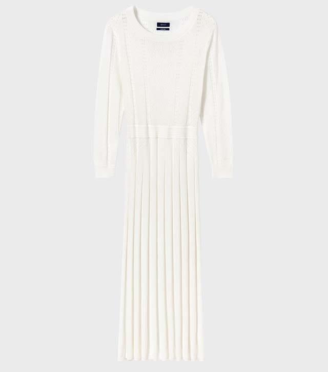שמלה לבנה של GANT, שמלת סריג לבנה, 995שח צילום יחצ חול