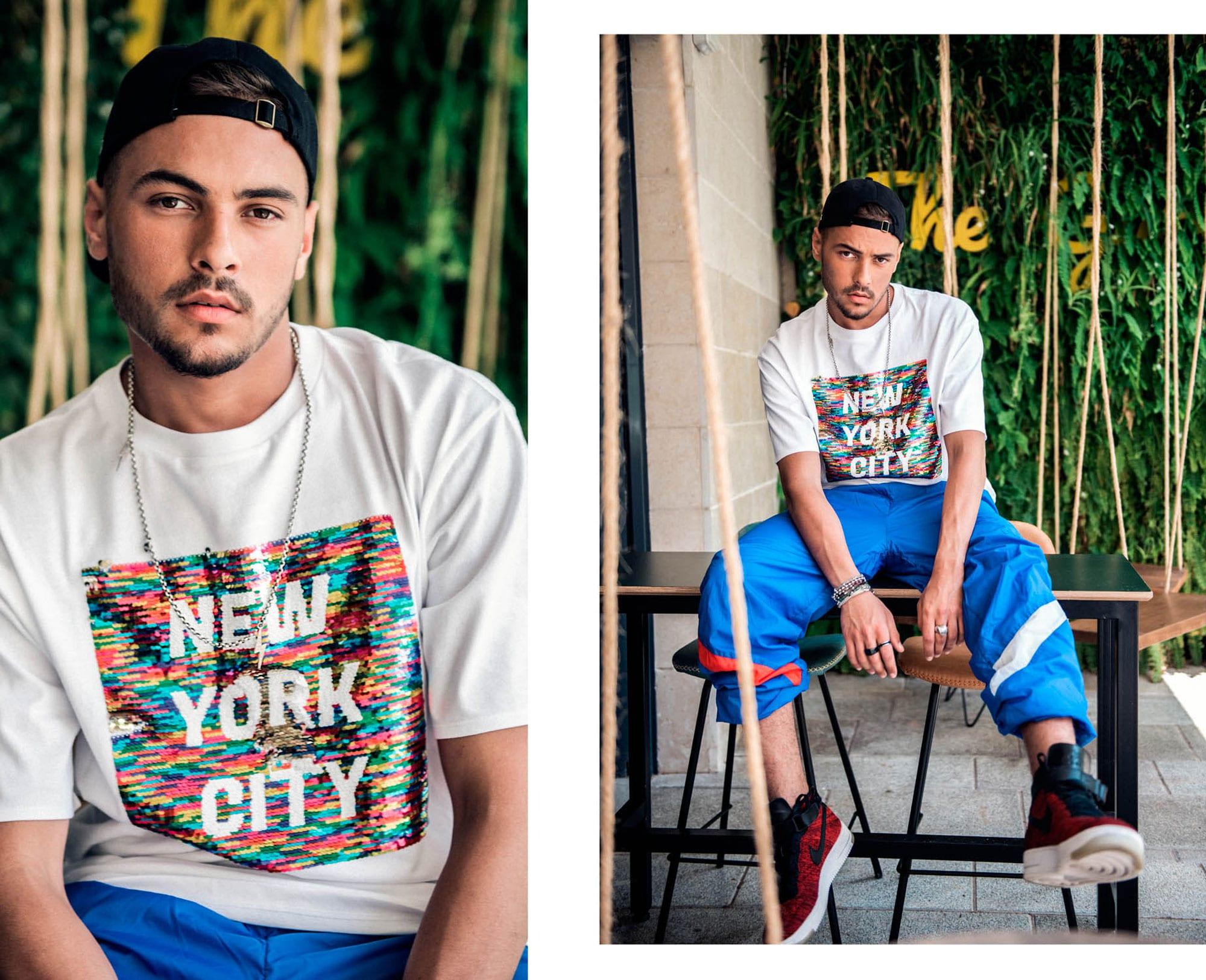כובע: אדידס, חולצה: H&M מכנסיים: Itay Gonen Vintage Style נעליים: נייקי, שרשרת: רנה דדוש. מצולמים: רועי סנדלר, בר סנדלר, צילום: דניס גצקיס, סטיילינג: אורי לשם, איפור: אורנה רימוק, הפקה: אורנה רביצקי ל- Fashion Israel, יח״צ: גלית קאשי1