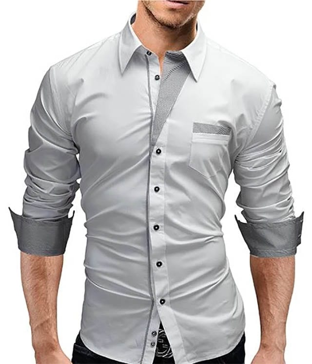 Item Type_ Shirts Gender_ Men Brand Name_ liligla Sleeve Length(cm)_ Full Pattern Type_ Solid Style_ Fashion Shirts Type_ Casual Shirts Sleeve Style_ Flare Sleeve Model Number_ A20 Collar_ Turn-down Collar Fabric Type_ Broadcloth Material_