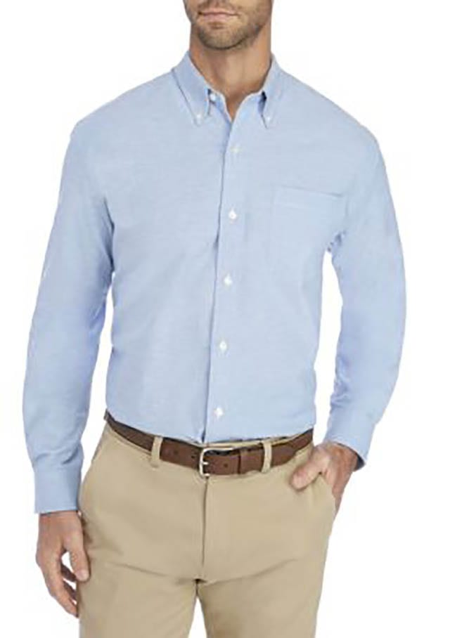 Saddlebred Long Sleeve Comfort Flex Stretch Oxford Shirt_ Crafted in cotton and spandex for a hint of stretch and continual comfort, this button-front shirt by Saddlebred is a versatile piece to add to your casual or dress collection