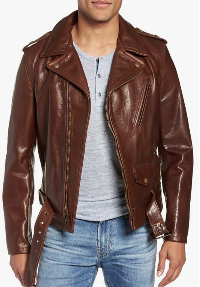 Men's Schott Nyc '50S Oil Tanned Cowhide Leather Moto Jacket, Size XX-Large - Brown