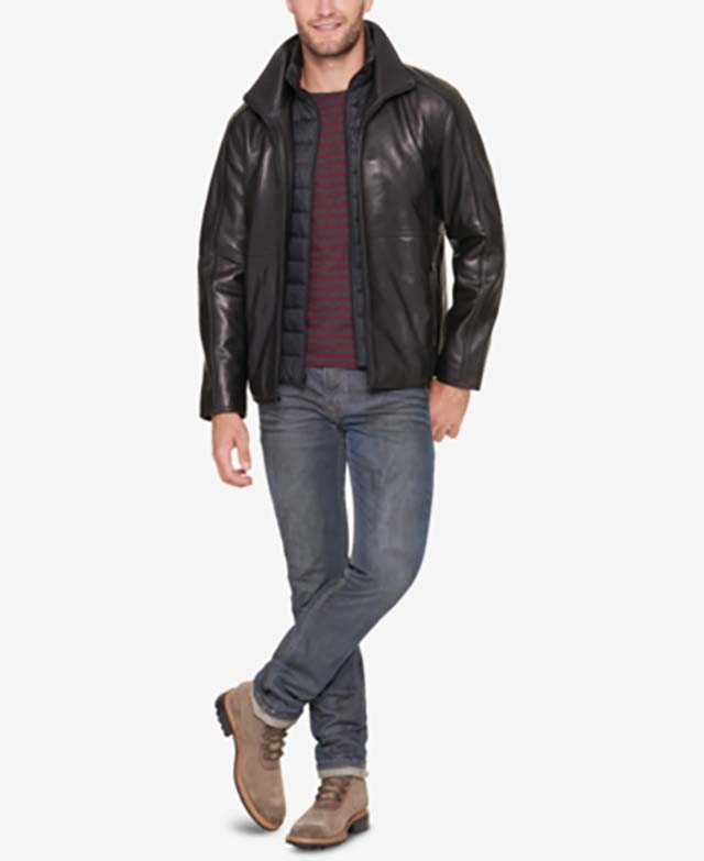A soft and supple leather shell finds its perfect finish in the quilted zip-out bib of this fashionable jacket from Mark New York_