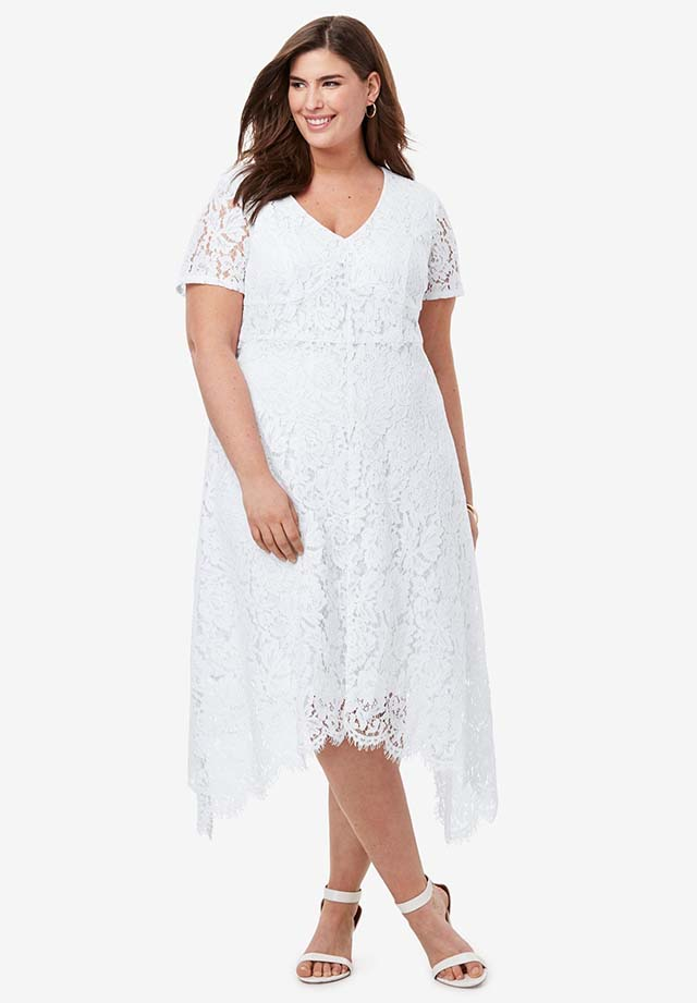 Lace Handkerchief Dress _ Plus Size Party & Cocktail Dresses _ Roaman's