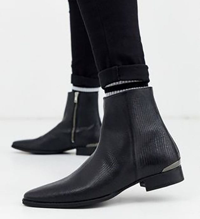 River Island snake skin zip boot in black at ASOS_ Shop this season's must haves with multiple delivery and return options (Ts&Cs apply)