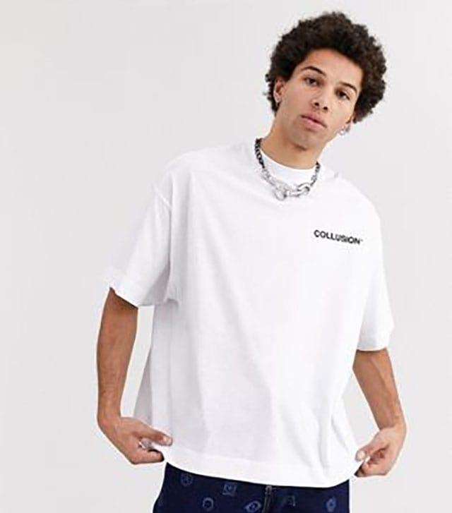 Shop COLLUSION oversized t-shirt in white with black raised print at ASOS_ Order now with multiple payment and delivery options, including free and unlimited next day delivery (Ts&Cs apply)