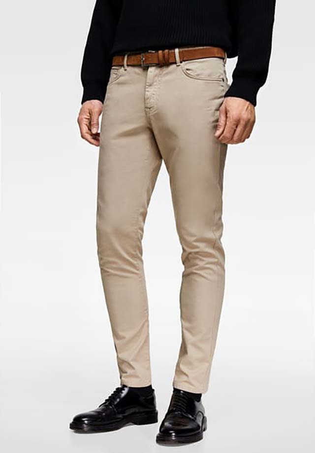 ZARA - Male - Structured pants with belt - Beige - 29