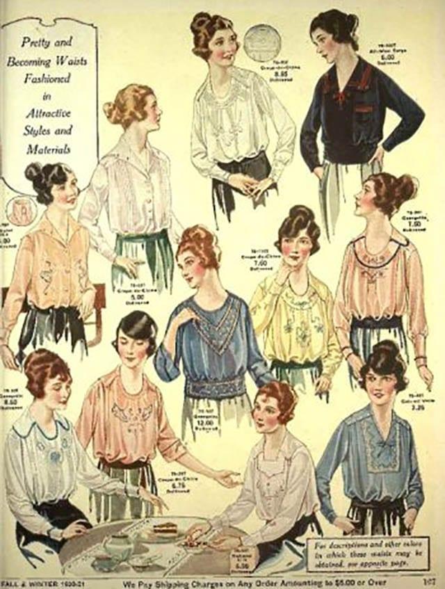 חולצות גבירותיי. 1920. צילום: פינטרסט, כתבות אופנה
