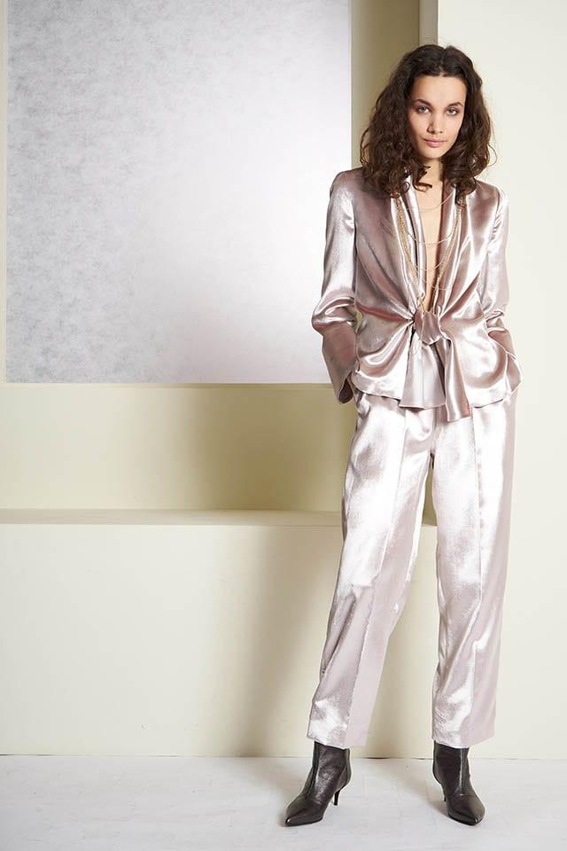 Les Copains בלעדי למילוס חליפת משי עליונית, מכנסיים, חדשות האופנה