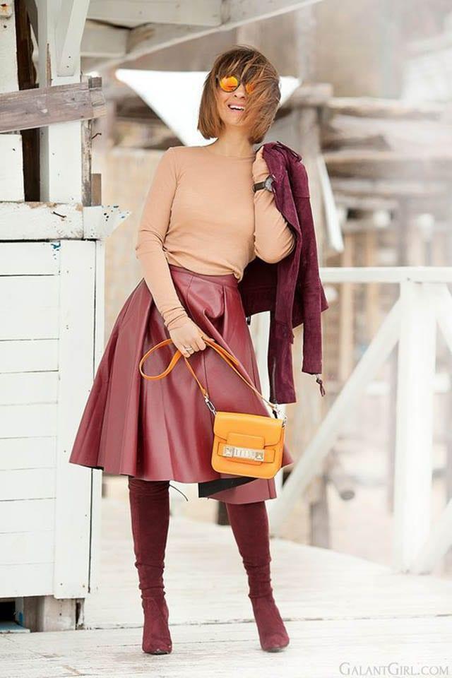 פרשת השבוע מקץ, 16 a peachy top, a red leather A-line skirt, burgundy suede boots and a matching jacket - Styleoholi