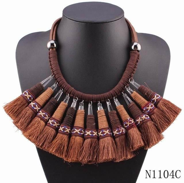Good Design Winter Rope Tassel Pendant Vintage Chunky Statement Necklace Women Christmas Gift