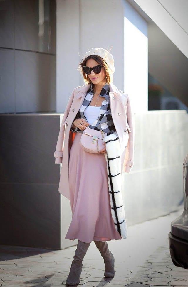 פרשת השבוע מקץ, gingham shirt, cuarzo rosa de la falda, boina de lana, trajes, de estilo francés, de piel sintética bufanda traje de otoño outf_