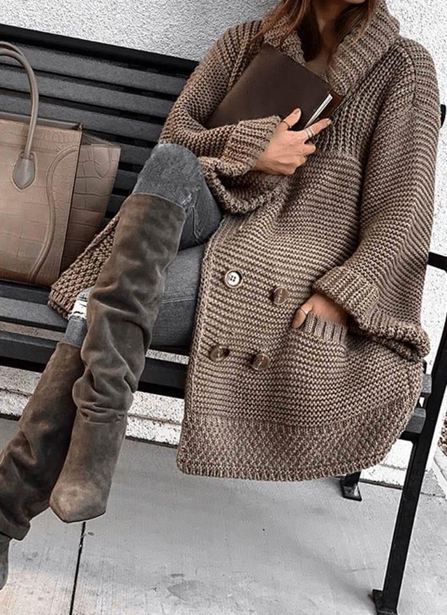 חדשות האופנה, Double-Breasted Fashion Thick Sweater Cardigan Coat